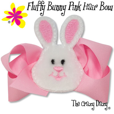 Pink Hair Bow. Hair Bow Size: 5quot; x 3quot; Bunny