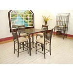 5PC Piedmont Counter Height Dining Table Set In Brown / Antique Silver