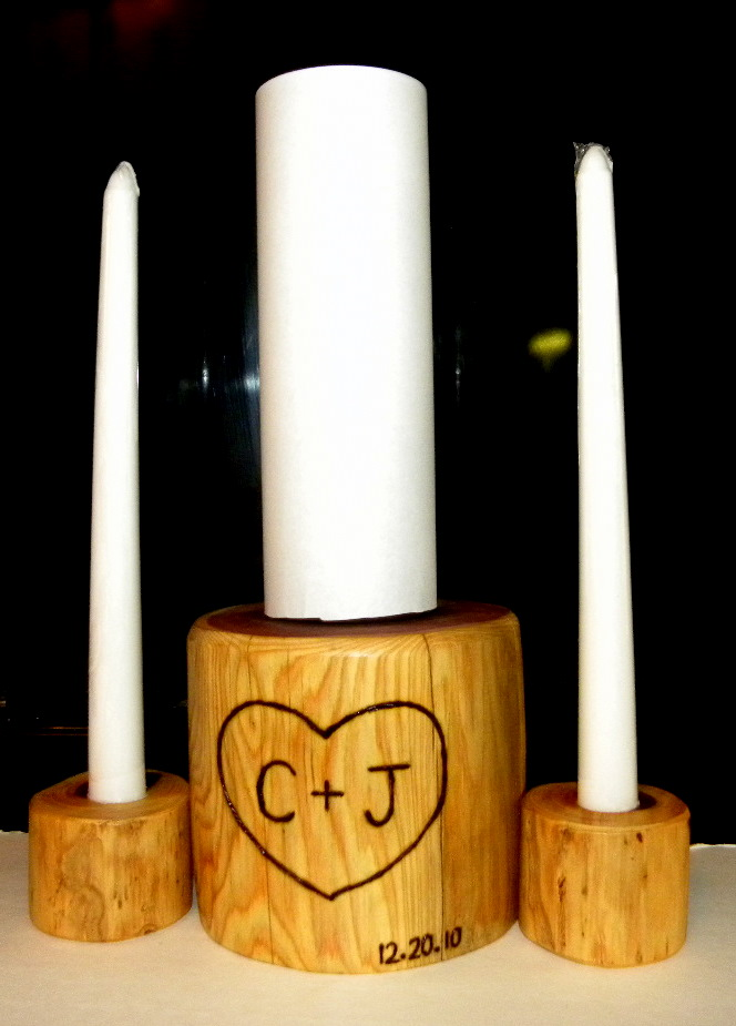 Rustic Wedding Unity Candle HoldersWooden Pedestal Personalized FREE Here