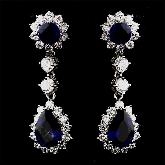 Bridal Earrings Sapphire Blue Cz Crystal Drop