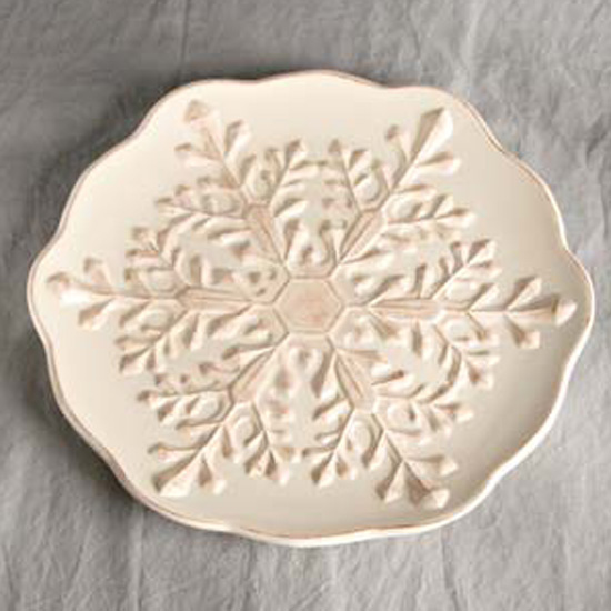 Cream 16'' Ceramic Platter Snowflake | MonsterMarketplace.