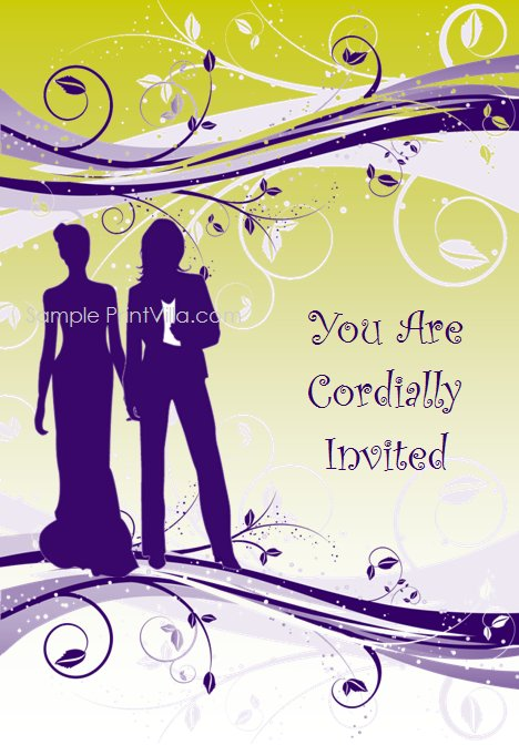 Purple two brides silhouette with a floral design and fading yellowgreen