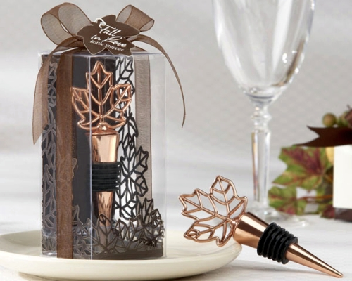 Autumn Wedding Event Favor Copper Leaf Wine Bottle Stopper