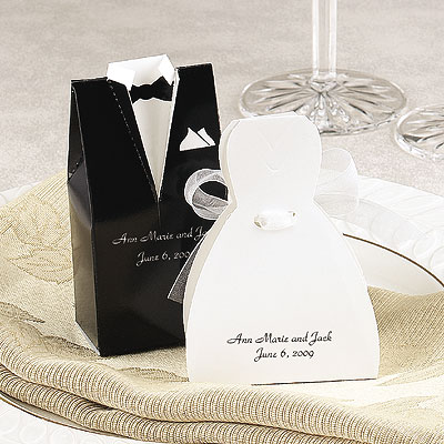 Tux And Gown Wedding Favors Boxes 50 per package