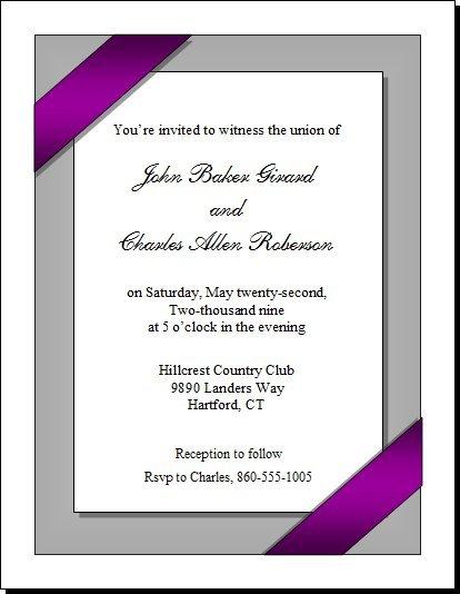 Purple Ribbon Portrait Gay Wedding Invitation