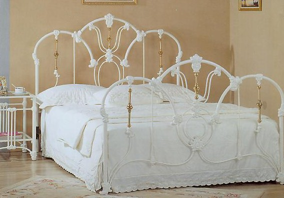 White gloss amp brass ornaments metal queen bed