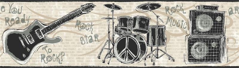 guitars wallpaper. FRIENDS FOREVER DRUMS, GUITARS WALLPAPER BORDER - JE3642B (Page 47). ECO FRIENDLY  HEIGHT - 6 3/4quot;  REPEAT - 24quot;. Visit Store. Your Price: $20.99