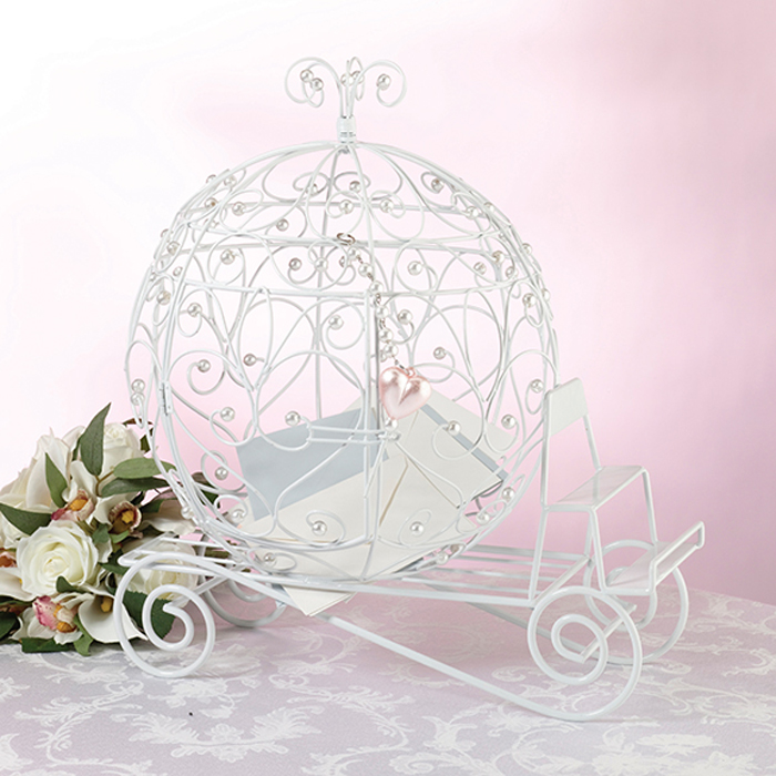 Fairytale wedding decoration card holder This charming white metal wedding