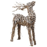 Artificial Christmas Holiday Decorative Twig Deer - 23in x 36in H Twig Deer with Snow