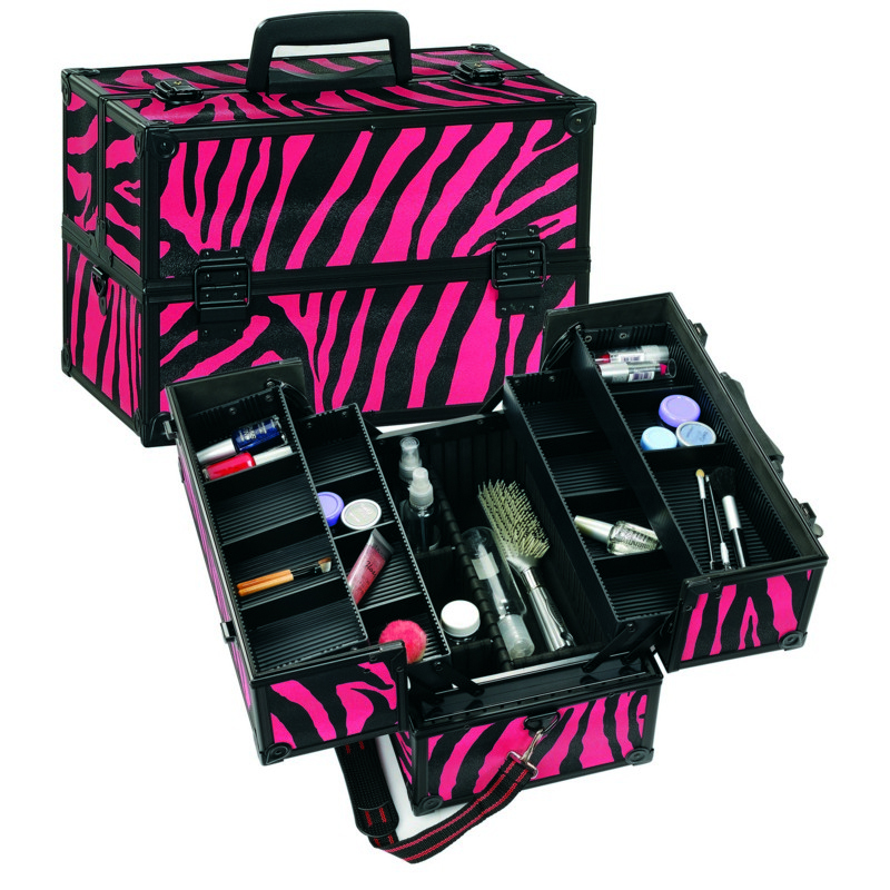 I own this zebra one and love it.  I'm thinkin'.  How to organize your makeup case tutorial.