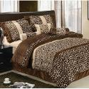 LaCozee Safari Micro Fur Bed in a Bag Set in Brown  Size: Queen
