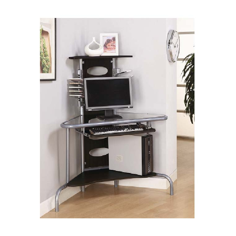 Leda Collection Corner Computer Desk (Black and Silver) DCD01G29