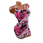 Pink Floral Tank Style Spandex Dress