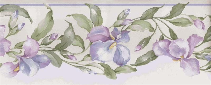 LILAC, PURPLE FLORAL WALLPAPER BORDER -12D2 - MP73662N