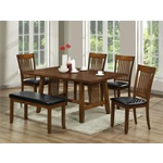"66"" Mission Omaha Walnut Brown Dining Table and Chairs"