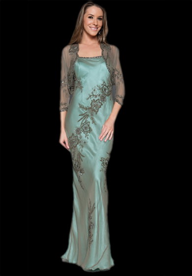 Scala Q1027 Lead Spaghetti Strap Sequin Embellished Evening Gown
