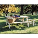 Rustic Natural Cedar Log Picnic Table RNC21 Rustic Cedar (779711000219)