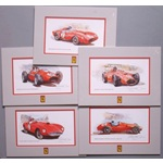 Five 1950's Ferrari Racing prints by Russell Brown