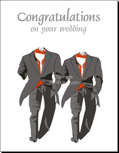 two tuxedos gay wedding congratulations card