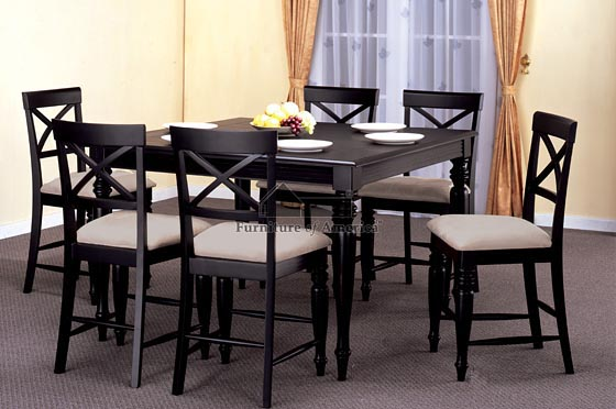 Details about square dining dinette kitchen counter height for Black kitchen table set