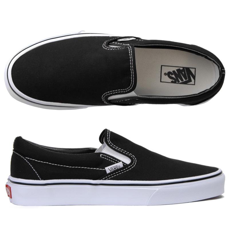 black classic laceless vans