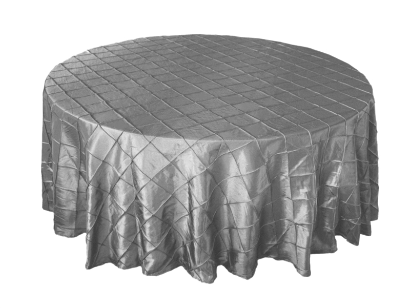 Silver Pintuck Tablecloths 120 Round Enlarge Image