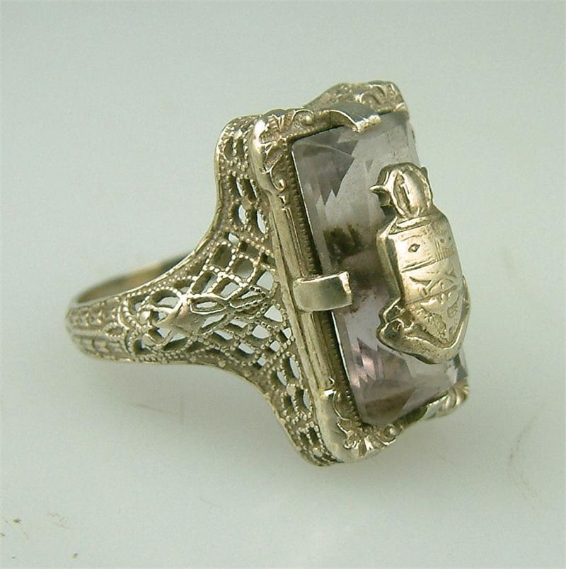 antique art deco gold amethyst
