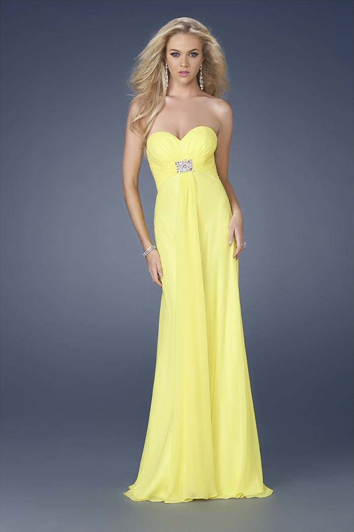 Yellow Evening Dresses By La Femme 56