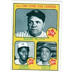 Babe Ruth Hank Aaron Willie Mays baseball card 1973 Topps #1 (New York Yankees) 67