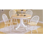 "42"" Round Pedestal Natural / White Kitchen Dining Table Set"