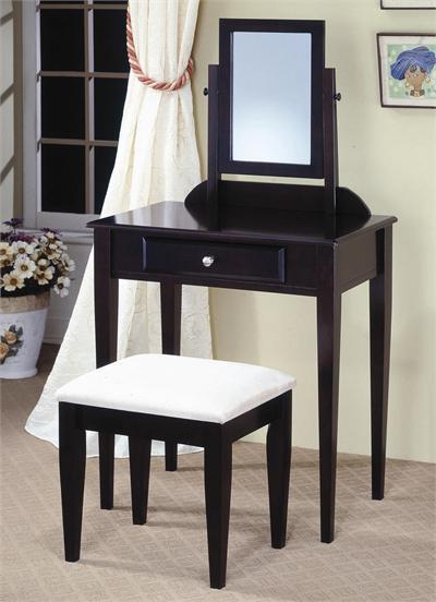 Black Living Room Table Sets on Espresso Wood Makeup Vanity Table Set W  Stool   Living Room