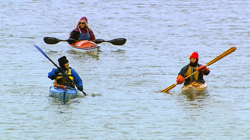Kayakers Cruise the Des Moines River in the Winter Months
