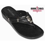 Black Leather Thong Silverthorne Sandal