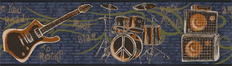 guitars wallpaper. FRIENDS FOREVER DRUMS, GUITARS WALLPAPER BORDER - JE3640B (Page 49). ECO FRIENDLY  HEIGHT - 6 3/4quot;  REPEAT - 24quot;. Visit Store. Your Price: $20.99