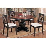 "48"" Distressed Black & Dark Oak Pedestal Round Wood Dinette Table Set"