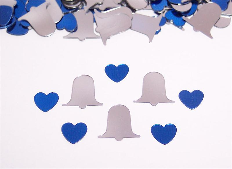 Includes Metallic Silver Wedding Bell Confetti and Metallic Royal Blue