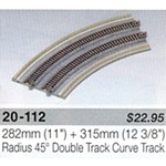 "Kato N Scale Unitrack 20-112 - 282mm (11"") + 315mm (12 3/8"") Radius 45 Double Track Plate Curve Track [2 pcs]"