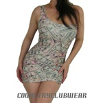 "One Shoulder Money Print Lycra Mini Dress 25"" Length"