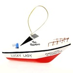Boat Ornament Cabin Cruiser Wood Decoration