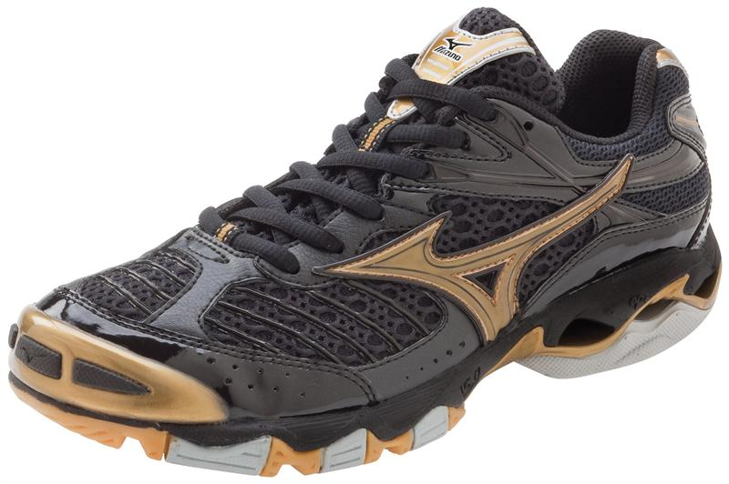 Mizuno Women s 430130 Wave Lightning 6 - Black/Gold