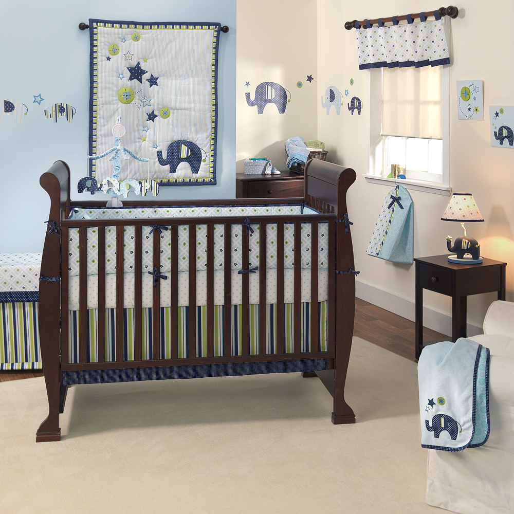Baby bedding cot set design green meadow 5 pieces bed for Baby boy bedroom furniture