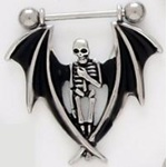 Dangling Bat Winged Angel of Dore Skeleton Nipple Shield Ring Barbell