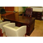 Used Kimball L Shape Desk and Credenza Senator Series Office Furniture