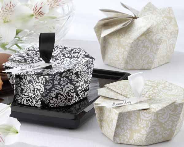 Ivory or Black damask party favor boxes for weddings showers and other