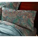 Cotton Sateen Lagos Paisley Pillowcases - Pair - Standard/Queen, Green/Multi