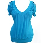 Plus Size Sexy Open Shoulder Blue Top