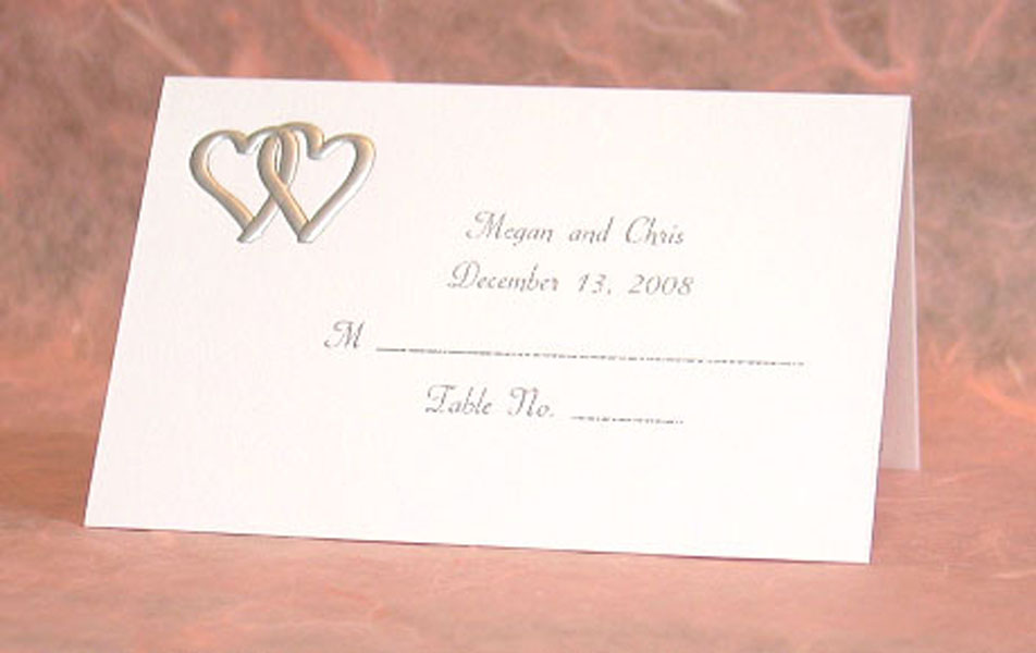 Personalized Place Cards Silver Joined Hearts