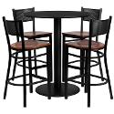 36 Round Black Laminate Table Set with Grid Back Metal Bar Stool and Cherry Wood Seat Seats 4
