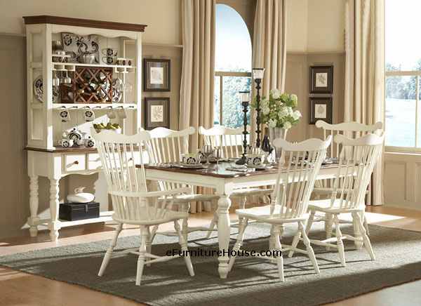 7PC Antique White / Brown Finish Country Style Dining Table Set