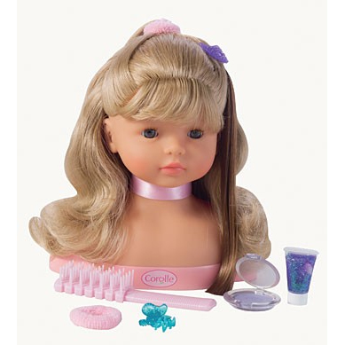 Each Hairstyling Head comes with a hairbrush, accessories such as hair clips